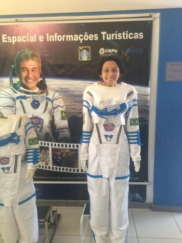 Marina with her hero, Marcos Pontes (The first Brazilian in space)